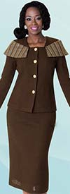 Liorah Knits 7214 - Womens Knit Skirt Suit With Rhinestone Details