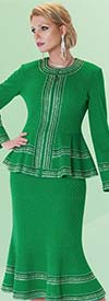 Liorah Knits 7216 - Womens Textured Knit Flared Skirt Suit