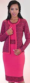 Liorah Knits 5124-Fuchsia Womens Knit Suits