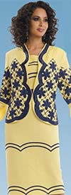 Lisa Rene 3303-Yellow - Womens Linen Blend Suit With Elaborate Embroidery