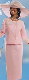 Clearance Lisa Rene 3306-Pink - Linen Skirt Suit With Elaborate Metallic Embroidery