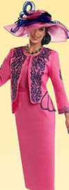 Lisa Rene 3307-Fuchsia - Womens Suit With Embroidered Jacket
