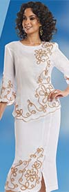 Lisa Rene 3308-White - Womens Suit With Soutache Embroidery