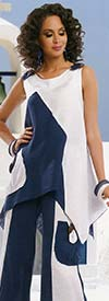 Lisa Rene 3311-Navy - Womens Linen Tunic & Pant Set With Wood Look Trims