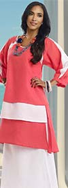 Lisa Rene 3315-Red - Ladies Layered Tunic & Skirt Set With Linen Fabric