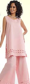Lisa Rene 3317-Pink - Ladies Tunic & Pant Set With Cutout Embroidery