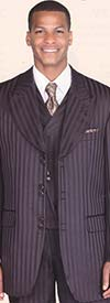 Longstry New York 29197V Mens Suit With Tone On Tone Stripe & Cut-away Vest