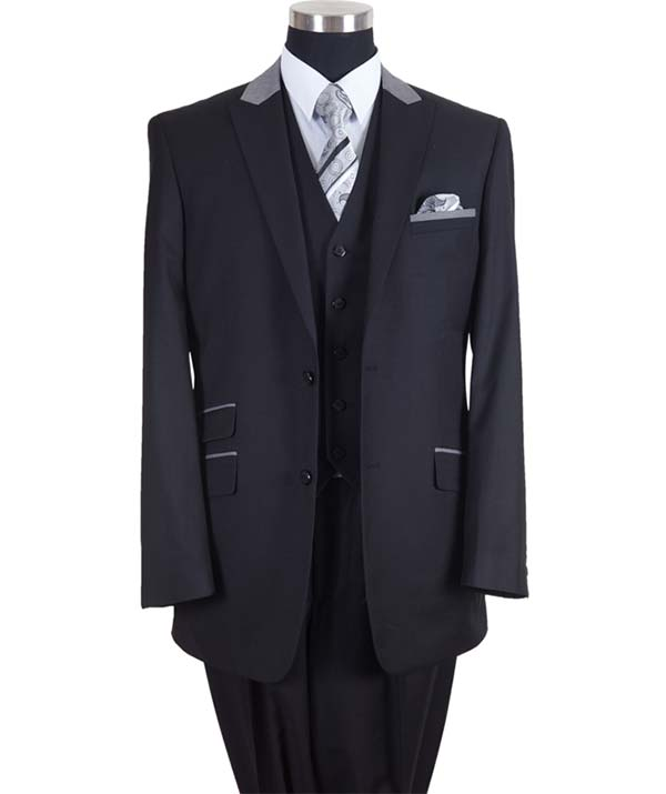 Longstry New York 57023-BlackGray - Two Button Mens Suit With Ticket Pocket