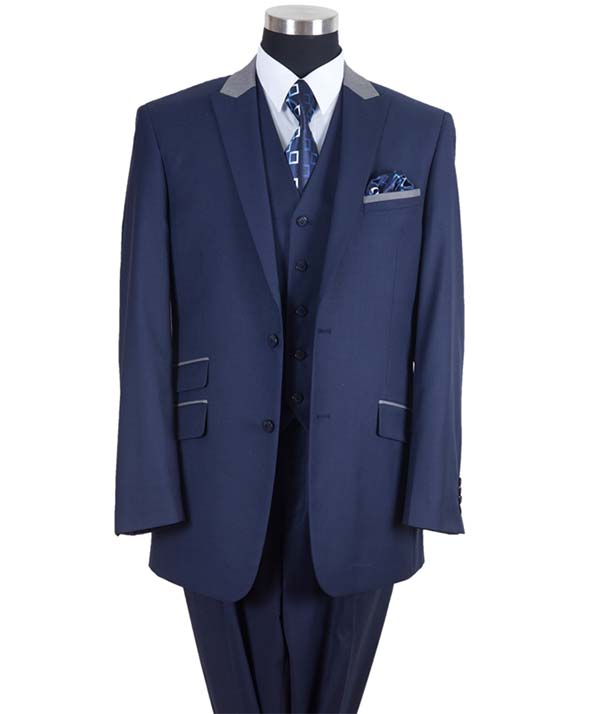 Longstry New York 57023-NavyGray - Two Button Mens Suit With Ticket Pocket