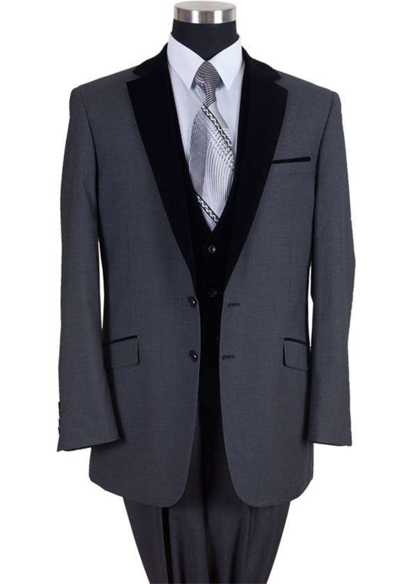 Longstry New York 57024-Black - Two Button Mens Suit With Velvet Lapel & Vest