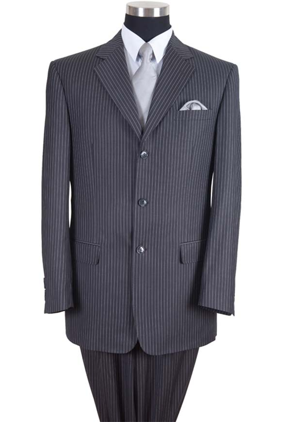 Longstry New York 58021-Gray - High Fashion Fancy Striped Mens Suit