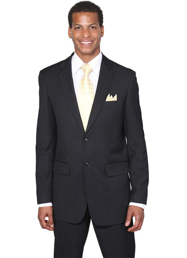 Longstry New York JL5702K-Black - Two Button Slim Fit Suit For Men