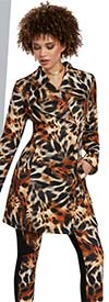 Love The Queen 17155 Animal Print Scuba Fabric Womens Pant Suit