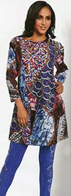Love The Queen 17157 Multi Print Novelty Fabric Womens Tunic