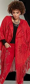 Love The Queen 17158-Red -  Faux Suede Laser Cut Fringed Cape With Silver Grommets