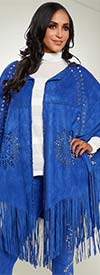 Love The Queen 17158-Royal -  Faux Suede Laser Cut Fringed Cape With Silver Grommets