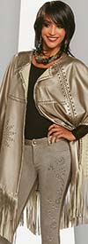 Love The Queen 17160 High Quality Metallic Leatherette Fringed Cape With Gold Grommets