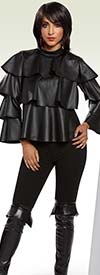 Love The Queen 17167-17169 Layered Leatherette Top With Knit & Leatherette Leggings