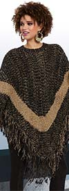 Love The Queen 17171-Black -  Novelty Knit & Lurex Fabric Poncho