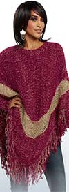 Love The Queen 17171-Burgundy -  Novelty Knit & Lurex Fabric Poncho