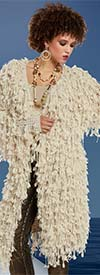 Love The Queen 17173 Novelty Knit Fabric Fringed Trimmed Womens Coat