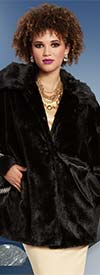 Love The Queen 17174 High Quality Faux Fur Coat Trimmed With Rhinestones