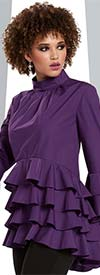 Love The Queen 17176-Purple Layered Ruffle Poly / Cotton Fabric Womens Tunic