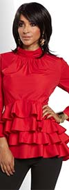 Love The Queen 17176-Red Layered Ruffle Poly / Cotton Fabric Womens Tunic