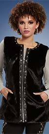 Love The Queen 19937 Fully Lined Faux Fur Trimmed Vest With Silver Grommets