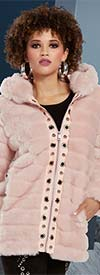 Love The Queen 19938 Fully Lined Faux Fur Coat Trimmed With Leatherettes & Grommets
