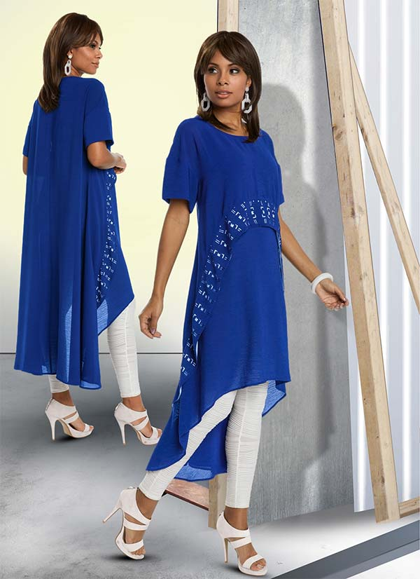 Love The Queen 17185 Womens Tunic Dress With Novelty Fabric & Laser Cutouts