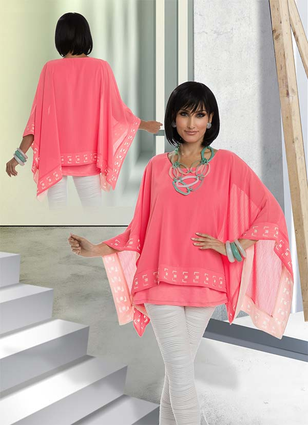Love The Queen 17186 Womens Tunic With Novelty Fabric & Laser Cutouts