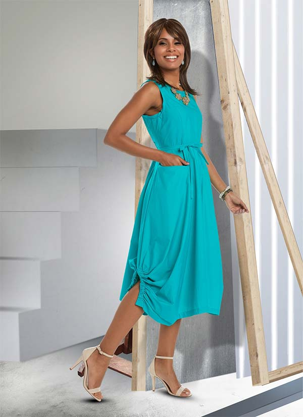 Love The Queen 17188 Womens Tunic Dress With Cotton Spandex Fabric & Elasticized Trim