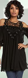 Love The Queen 17200-Black - Embellished Tunic & Camisole Set With Chiffon & Guipure Lace