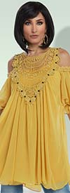 Love The Queen 17200-Mustard - Embellished Tunic & Camisole Set With Chiffon & Guipure Lace