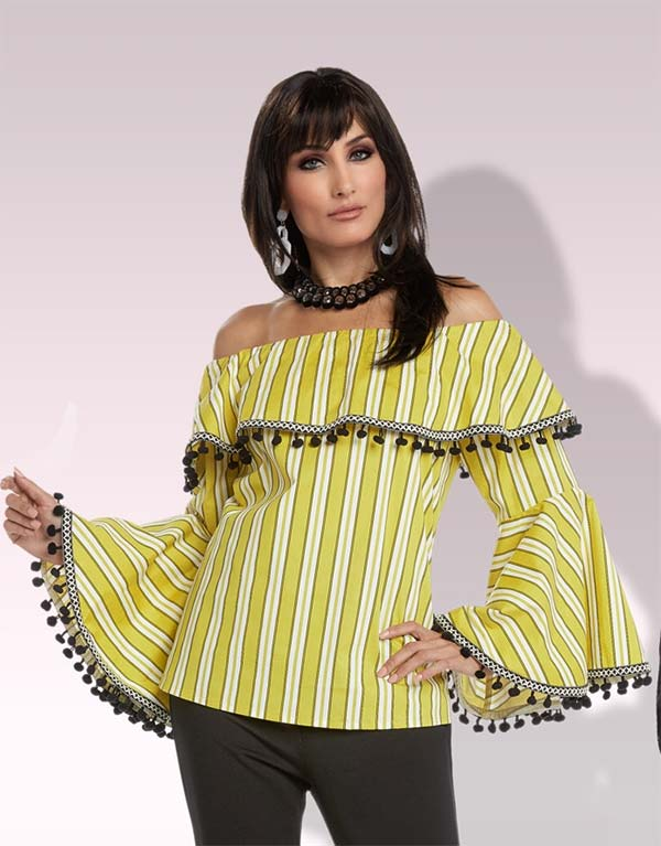 Love The Queen 17201 Womens Tunic Top With Cotton Spandex Fabric & Tassel Fringe Trim