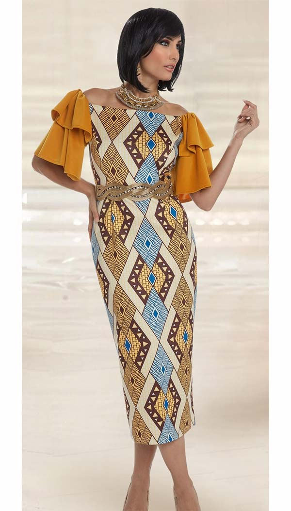 Love The Queen 17203 Ruffled Sleeve Novelty & Spandex Fabric Dress With African Inspired Print