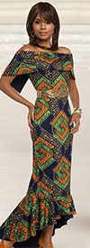 Love The Queen 17204 Flounce Hem Novelty & Spandex Fabric Dress With African Inspired Print