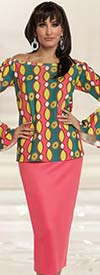 Love The Queen 17205 African Inspired Print Tunic & Skirt Set With Bell Cuff Sleeves