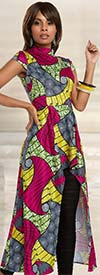Love The Queen 17206 Tunic Dress With African Inspired Printed Spandex Fabric