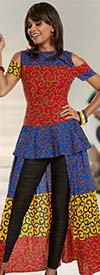 Love The Queen 17207 Cold Shoulder Tunic Dress With Cotton Wax African Inspired Printed Fabric