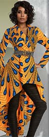 Love The Queen 17208 Notch Lapel Tunic Dress With Cotton Wax African Inspired Printed Fabric