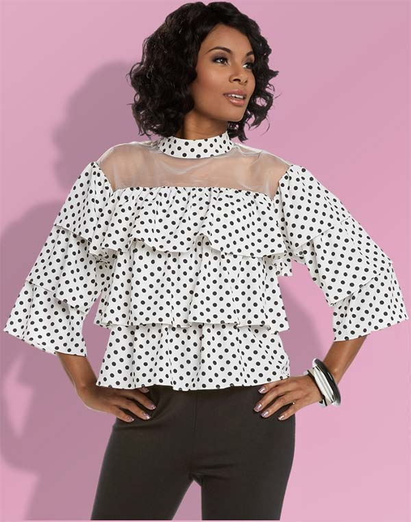 Love The Queen 17215 Tunic Top With Layered Ruffle Design & Mesh Inset