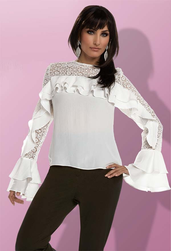 Love The Queen 17216 Tunic Top With Ruffle Design & Lace Fabric