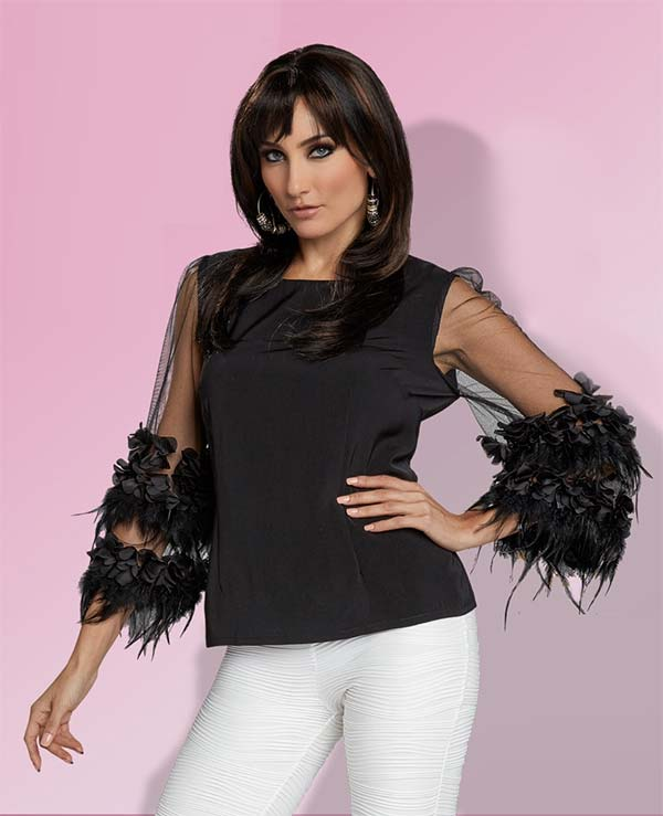 Love The Queen 17217 Tunic Top With Layered Ruffled Feathers & Mesh Sleeves