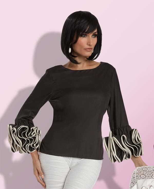 Love The Queen 17218 Poly Fabric Tunic Top With Elaborate Ruffled Sleeves