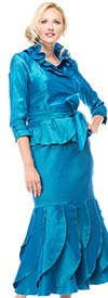 Moshita 6237 Womens Stretch Taffeta Ruffled Skirt Suit