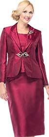 Moshita 6325 Silky Twill Ladies Three Piece Skirt Suit