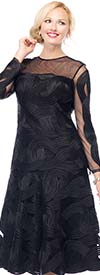 Moshita 7024-Black - Mesh & Ribbon Womens Dress