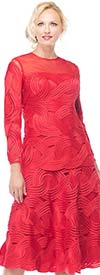 Moshita 7024-Red - Mesh & Ribbon Womens Dress